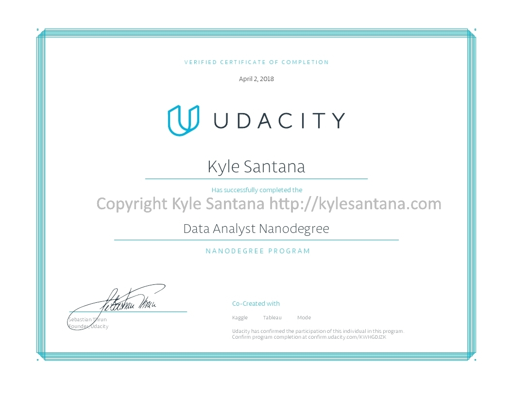 Udacity Data Analyst Nanodegree Certificate