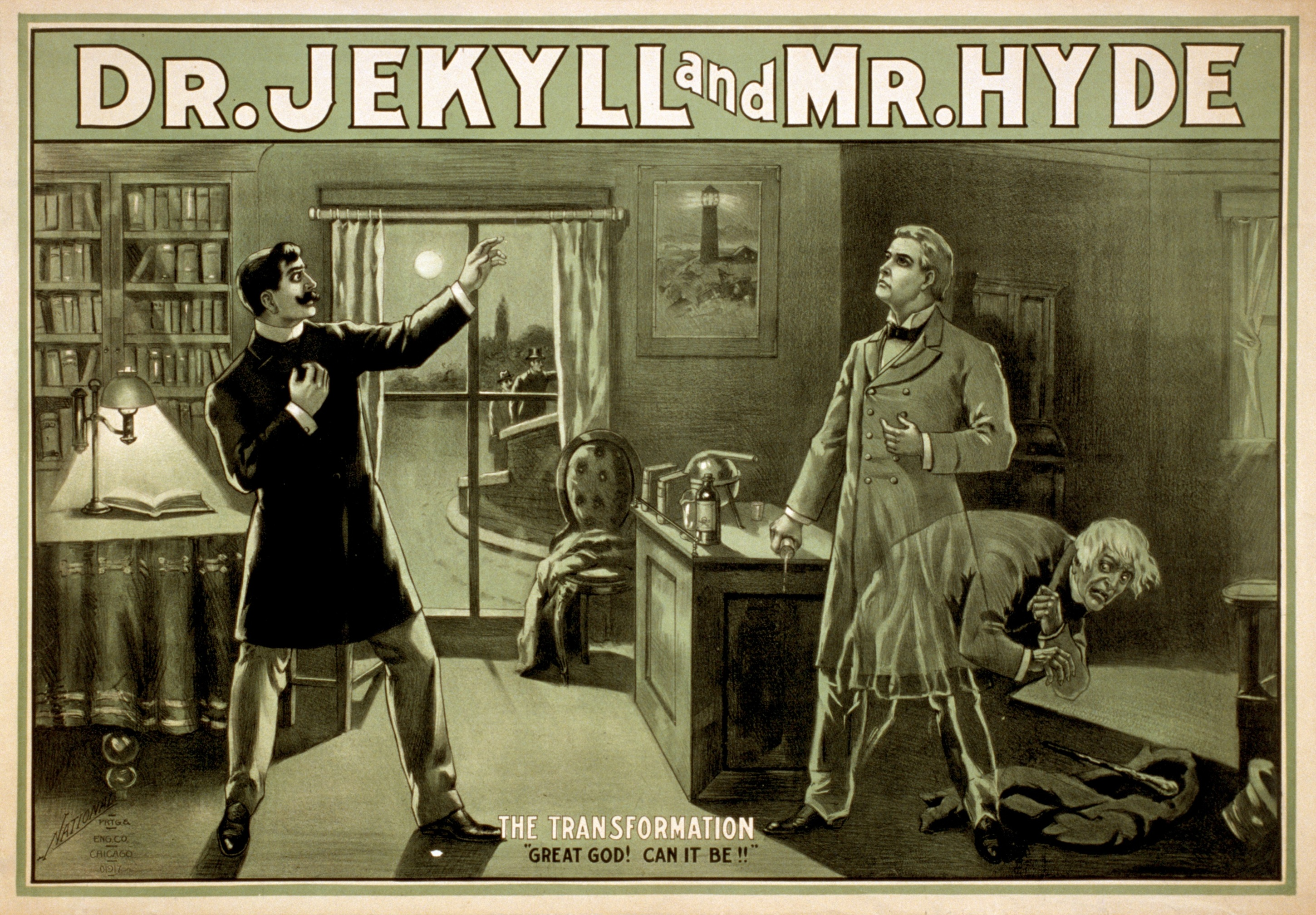 Old poster of classic Jekyll and Hyde movie