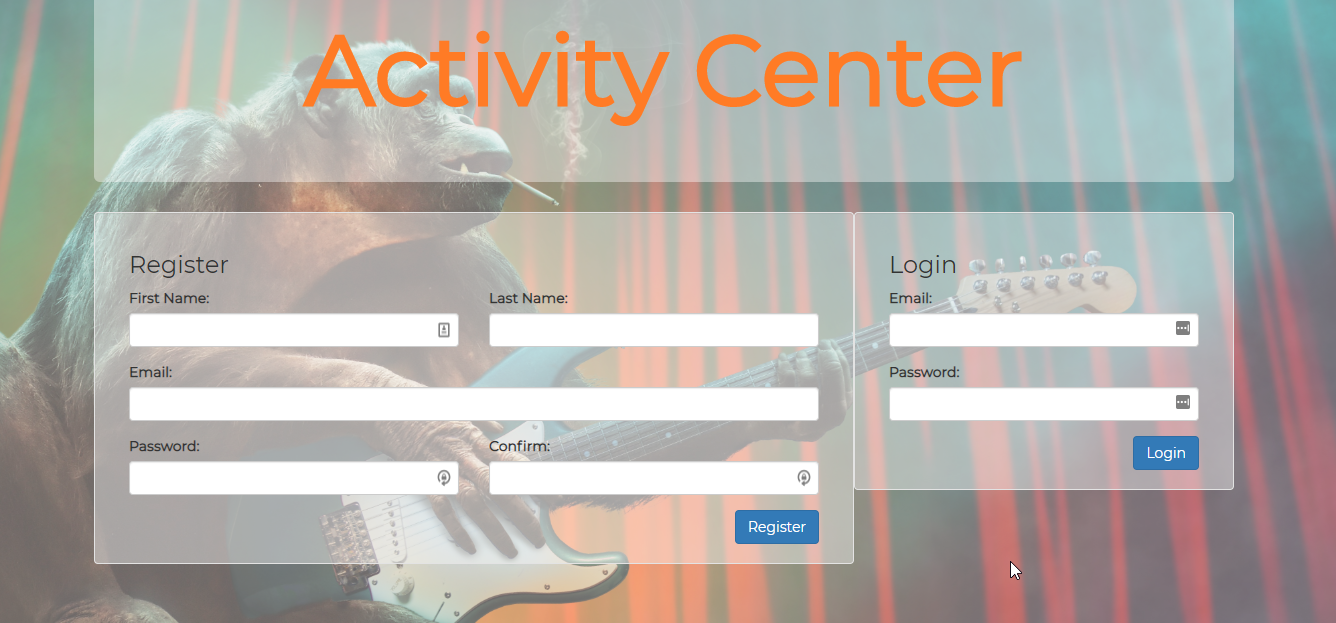 Screen shot of Activity Center App